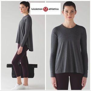 Lululemon Acadia High Low Long Sleeve In Gray